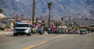 The American Legion Riders and Patriot Guard Riders escort Seaman James Zasadil to the American Legion. Rick Powell/RiverScene