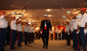 USMC Major Thomas M. Keech enters the Marine Corps. Ball Thursday evening. Jillian Danielson/RiverScene