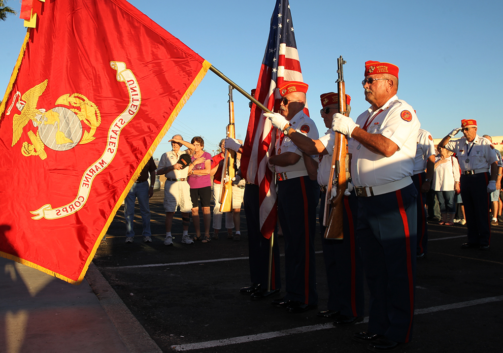 The Marine Corps League Color Guard carries the colors at Golden Corral Monday evening. Jillian Danielson/RiverScene