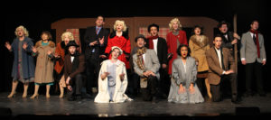 """The cast of """"White Christmas"""" performs a song during dress rehearsal Wednesday evening. Jillian Danielson/RiverScene"""