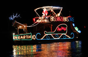 The Elks boat rides through the Channel during the Boat Parade of Lights. Jillian Danielson/RiverScene