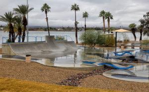 The Tinnell Memorial Sports Park covered in rain Thursday morning. Jillian Danielson/RiverScene