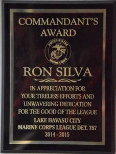 Commandant Award. photo courtesy Ron Silva