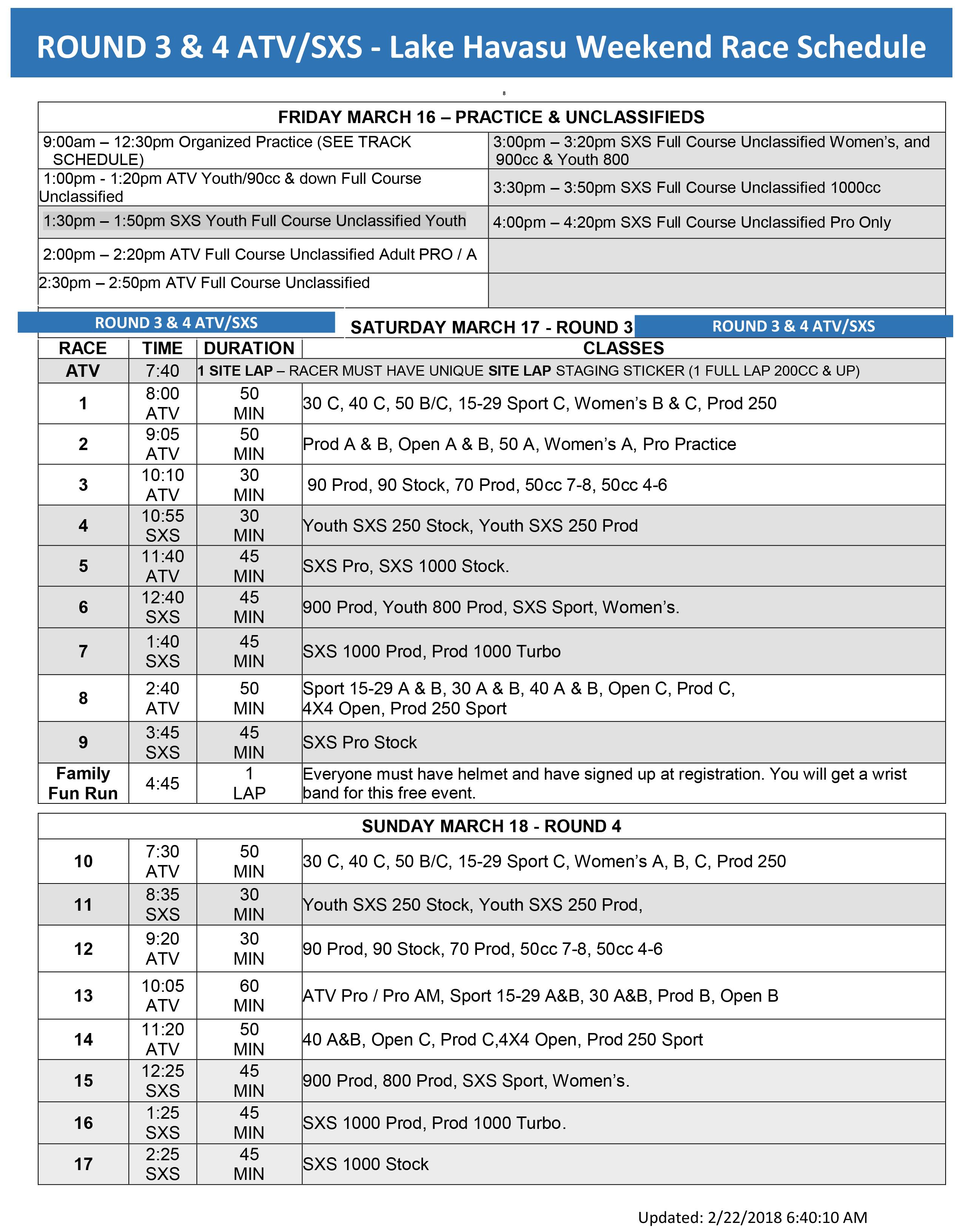 worcs schedule march 16