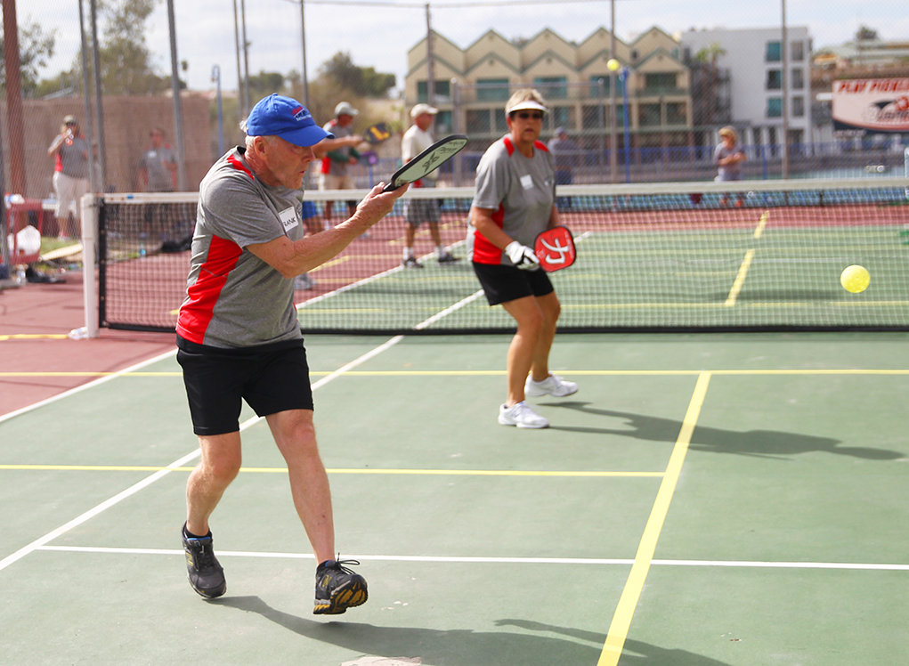Frank Thompson and Wendy Holloway compete in a Pickleball Tournament Saturday afternoon. Jillian Danielson/RiverScene