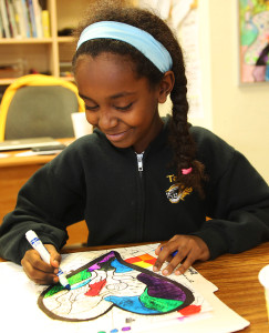 Lydia Bysack works on her Zen Doodles in Pam's  art class.