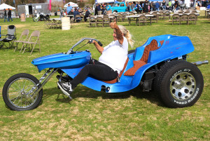 Frankie Lyons rides a Trike across the grass Saturday afternoon during the Bike Build Off. Jillian Danielson/RiverScene