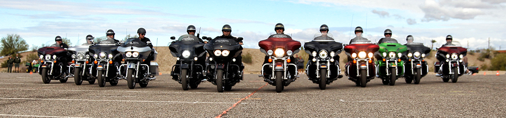 The Harley Davidson of Scottsdale Drill Team performs Saturday afternoon at the Bike Build Off.