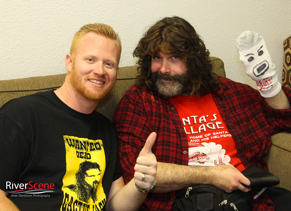 Jerad Pennington poses with Mick Foley Saturday evening. The comedy night was held at the London Bridge Resort and was sponsored by Pennington's Pub.