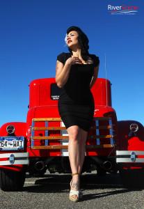 Vikki Fahrenheit poses for a photo at the Rockabilly Reunion. Jillian Danielson/RiverScene