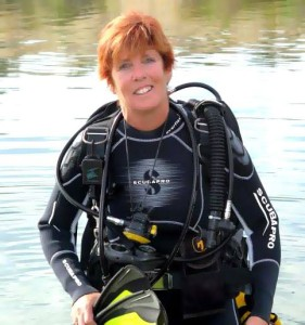 Captain Kathy Weydig preparing for a SCUBA Dive event. Submitted Photo.