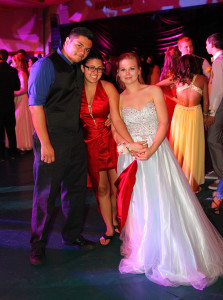 Hailey Quadri, Skylar McCall and Ashley Olson pose for a photo at the Senior Prom Saturday evening. Jillian Danielson/RiverScene