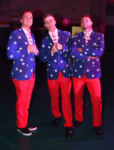 Dylan Parrish, Conner Attencio, and Garret Marshall pose in their matching suits at the Senior Prom. Jilian Danielson/RiverScene