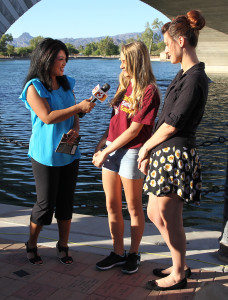 Tess Rafols interviews Sadelle Finney and Sabrina Louridas of The Rainbow Girls Friday morning during 3TV news Friday morning. Jillian Danielson/RiverScene