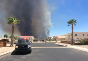 The Willow Fire as seen from Hansen's front yard as she was evacuating.