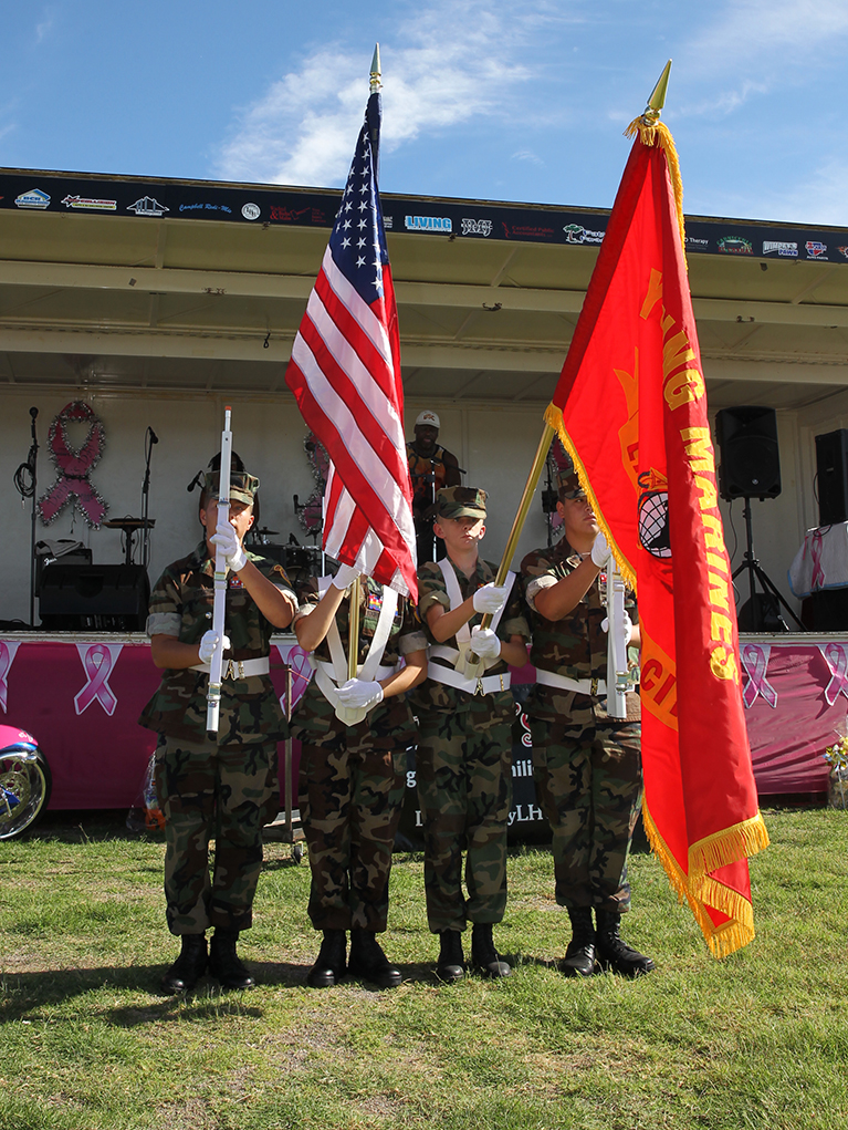 The Young Marines opened the ceremony with carrying the flags. Jillian Danielson/RiverScene
