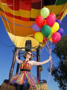 Model Christina Broderick during a hot air balloon photo shoot. hair/mua Heather Pace. Jillian Danielson/RiverScene