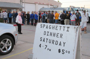 A crowd lines up for the Desert Hills Fire Department Auxiliary's charity Spaghetti Dinner held Saturday, Nov. 21. There were 465 dinners served. Jayne Hanson/RiverScene