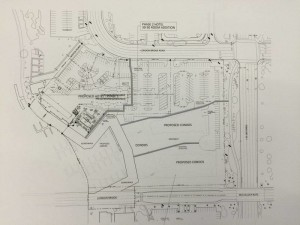 A drawing of the future of the new hotel is presented at the VRE meeting Tuesday evening. Jillian Danielson/RiverScene