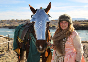 Dame Eleanor poses for a photo next to her horse, Sienna, Friday afternoon before Jousting. Jillian Danielson/RiverScene