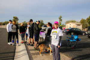 Crystal Alger was on hand to greet the runners before the race Saturday morning. Rick Powell/RiverScene