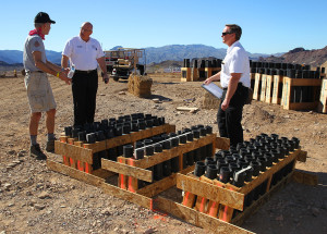 Lake Havasu City Fire Department inspects the fireworks that will be launched during Winterblast. Jillian Danielson/RiverScene