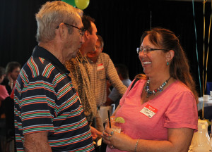 Don Noel and Lorri Kinnan talk about old times Saturday afternoon at the Reunion. Jillian Danielson/RiverScene