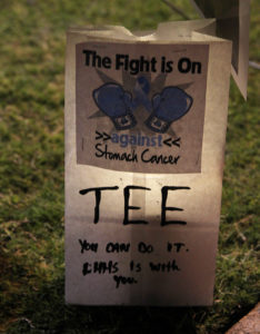 A luminary is lit Friday night during Relay For Life.  Jillian Danielson/RiverScene