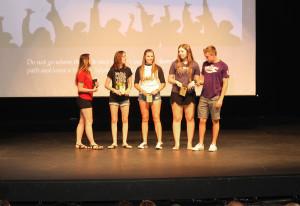 Five students receive the Four Year Academic Honor Roll Award Thursday morning. Jillian Danielson/RiverScene
