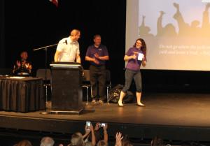 Jane Silverstein receives the Principal's Leadership Award Thursday morning at Lake Havasu High School. Jillian Danielson/RiverScene