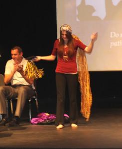 Emily Berryman receives the LHHS Knight's Spirit Award Thursday morning. Jillian Danielson/RiverScene