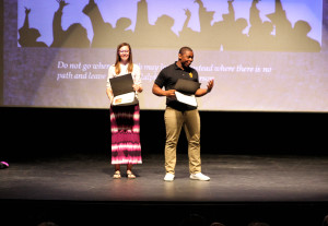 Rose Bently and Christian Henry receive awards Thursday morning at Lake Havasu High School. Jillian Danielson/RiverScene