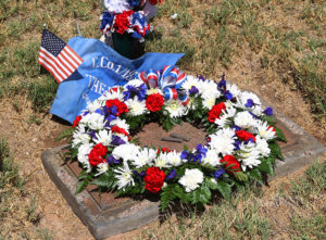 A wreath was laid on Patrick Tinnell's headstone by the Military Moms on Memorial Day. Jillian Danielson/RiverScene