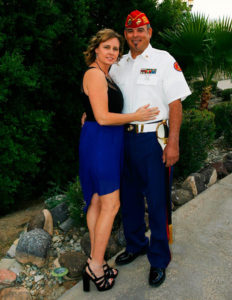 Reina and Chris Gall pose for a photo at a Marine Corps birthday dinner. Jillian Danielson/RiverScene