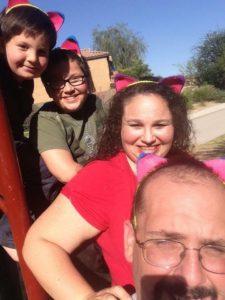 The Milobar family from Phoenix wears cat ears in support of Raeanna Simpson. photo courtesy Milobar family