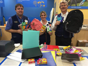 Walmart holds donations for back to school prizes to be given away.