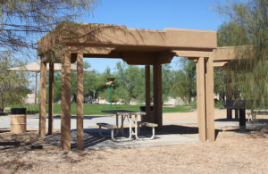 Picnic benches are available for use at Realtor Park. Jillian Danielson/RiverScene