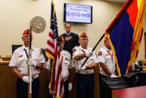 The Lake Havasu Marine Corps League Detachment 757 presenting Colors. Jillian Danielson/RiverScene