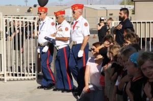 The Marine Corps League Color Guard present the Colors Monday morning. Jillian Danielson/RiverScene