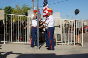 Marine Corps League Color Guard performs a flag raising ceremony Monday morning at Telesis. Jillian Danielson/RiverScene