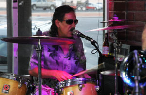 Drummer Thomas Abaroa plays with Kevin Jaxon at Pennington's Pub. Jillian Danielson/RiverScene