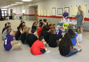 Representatives from WAVE speak to Thunderbolt 8th grade students during Career Day. Jillian Danielson/RiverScene