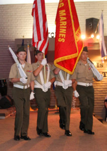 The Young Marines carry the colors Wednesday evening during a Veteran's appreciation dinner. Jillian Danielson/RiverScene