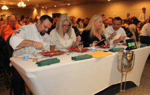 Judges Angel eMorales,, Audrey Hoit, Cindy Korgan, and Ben Groeger taste the food cooked by one of the contestants at Havasu Top Chef. Jillian Danielson/RiverScene