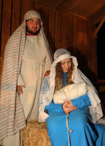 Brandon Berlant and Danelle Tamayo pose for a photo as Mary and Joseph in the Live Natvity. Jillian Danielson/RiverScene