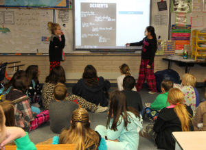 Kadenz Kathers and Jessalyn Garcia present their commercial Thursday morning. Jillian Danielson/RiverScene