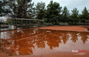 A baseball field at Rotary Park covered in water after it rained Thursday morning. Jillian Danielson/RiverScene