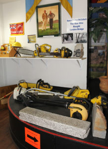 McCulloch chainsaws sit on display at the Visitor's Center. Jillian Danielson/RiverScene