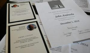 The James Beard Foundation Holiday dinner menu and Chef John Andreola's James Beard Foundation award. Jayne Hanson/RiverScene