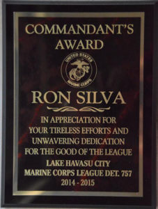 Commandant Award. photo courtesy Ron Silva